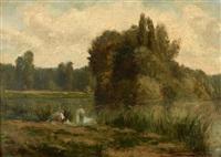 paysage aux pêcheurs by emile charles lambinet
