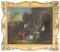 a lady and her maid at a vegetable sellers cottage, a thief attempting to steal her watch by josef van aken
