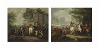cavaliers setting off on a journey; and a military blacksmith shoeing horses by a ruin (pair) by pieter van bloemen