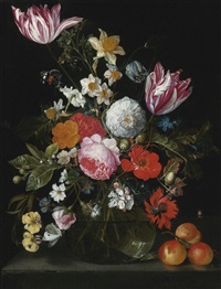 still life of flowers in a glass vase on a stone ledge by cornelis de heem and david cornelisz de heem
