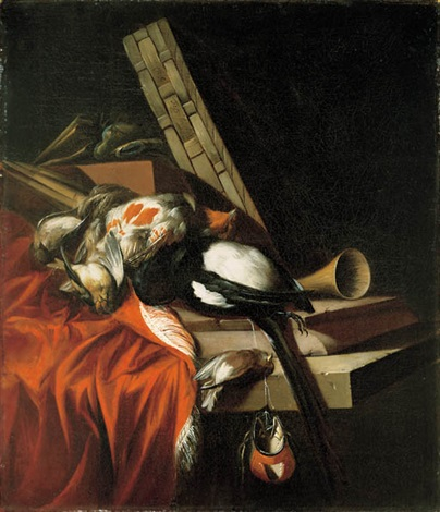 a dead game still life with a trumpet and a basket on a stone ledge by william gowe ferguson