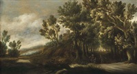 a wooded landscape with figures on a path, a castle beyond by lucas achtschellinck