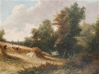 harvest scene (+ gypsy encampment; pair) by peter leslie