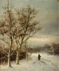 houtsprokkelaar in een winters landschap by gerard van der laan