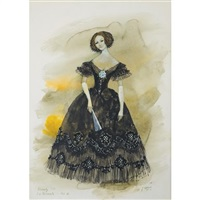 costume design for beverly sills as violetta in verdi's la traviata, act iii by jose varona