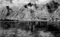 alplandskap med kyrka vid sjö by edmund frederic arthur krenn