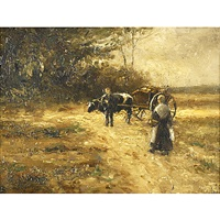 ox cart in a landscape by charles henry miller