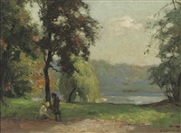 childeren playing under a tree by a lake by louis soonius
