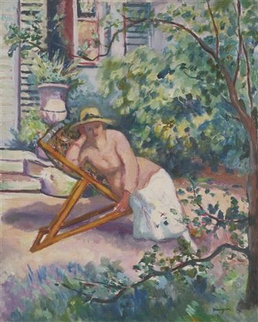 jeanne dans le jardin de neuilly by henri charles manguin