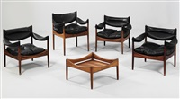 modus easy ensemble, comprising four armchairs and an occasional table (set of 5) by kristian solmer vedel