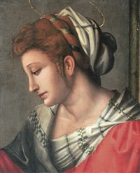 a female saint, bust-length, in a red dress with a white headdress by bacchiacca