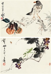 花鸟双挖 (2 works) by liu jiyou and wang xuetao
