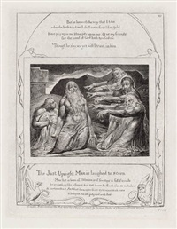 the just upright man is laughed to scorn (from illustrations of the book of job) by william blake