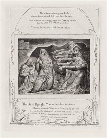 the just upright man is laughed to scorn from illustrations of the book of job by william blake