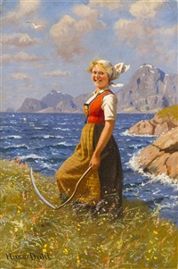 maid with scythe by hans dahl