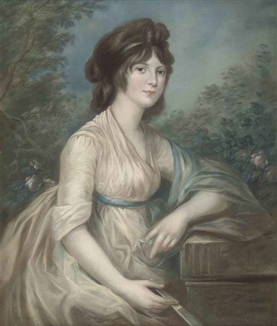 portrait of a lady seated in a garden in white dress and blue shawl a fan in her right hand her left arm resting on a fluted pediment by john russell