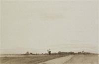 landschaften (3 works, incl. 1 chalk drawing, various sizes) by reinhold rudolf junghanns