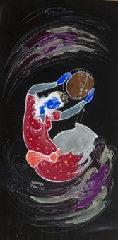 blue woman making wine with purple and gray swirling clouds around her (+ figure kneeling with wine next to blue woman holding purple bowl; 2 works) by sadegh tabrizi
