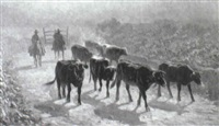 cowboys driving the herd by rafael correa