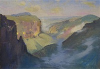 over the hills and far away (blue mountains) by albert henry fullwood