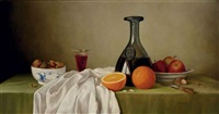 still life of fruit, wine and a bowl of nuts on a draped table by james noble