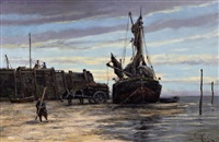 view of a dutch waterfront, possibly delft and fishermen unloading the catch (pair) by hermanus koekkoek the younger