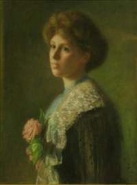 lady with pink carnelia by frederick william leist