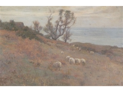 sea view possibly runswick bay with cottage and trees sheep in the foreground by frederick william jackson