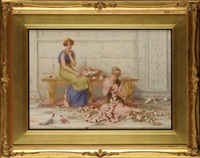a classical scene with two young women making garlands of roses by henry ryland