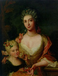 portrait of a lady in a yellow dress with flowers in her lap with her daughter by gilles allou