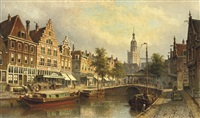 the fishmarket with the st. janskerk beyond, gouda by eduard alexander hilverdink