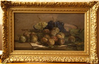 nature morte aux fruits (pommes et raisins) by henri arthur bonnefoy