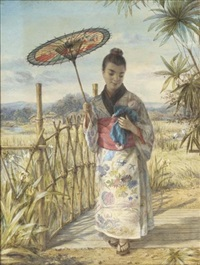 a japanese girl crossing a bridge, with a village beyond by alphonse auguste joseph lemaire