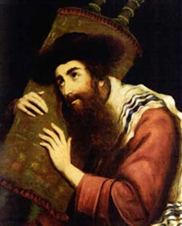 a rabbi holding a torah scroll by moritz gottlieb