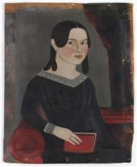 untitled (portrait of girl holding red book) by william w. kennedy