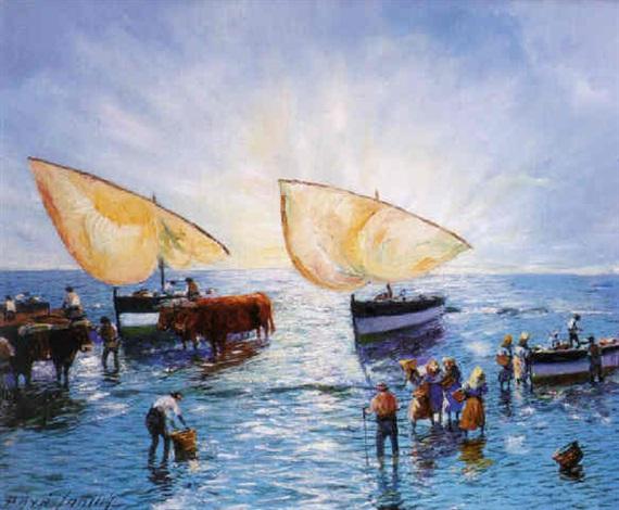 pescadores con bueyes y barcas en una playa de mallorca by josé paya sanchis