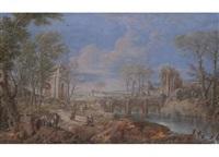 tiefe landschaft mit reicher figurenstaffage und ruinen am fluss by maria luigia raggi