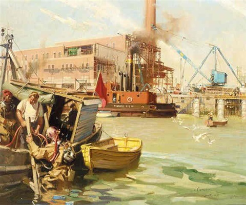 power station and wharf under construction at plymouth by terence cuneo