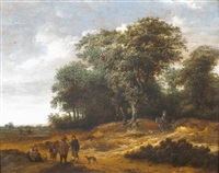 travelers in a wooded landscape by gillis rombouts