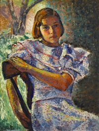 young girl in a chair by faye (swengel) badura