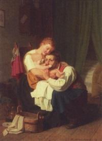 elternliebe. interior med forældrepar, der beundrer det nyvaskede barn by heinrich aschenbroich