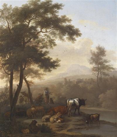 südliche landschaft mit lagerndem vieh by adriaen van de velde