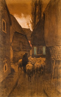 berger de moutons dans une petite rue by frans van leemputten