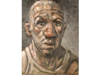 a portrait of a man in a vest by peter howson