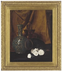 an oriental style vase, a copper pail and some flowers by frank clifford ashford