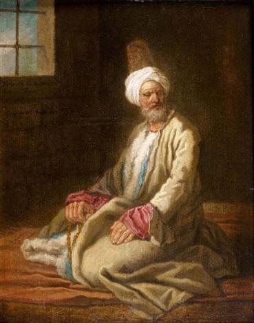 homme au turban dans un intérieur by etienne jeaurat