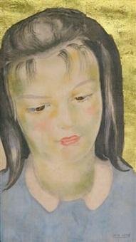 portrait de jeune fille au pull bleu by alix aymé