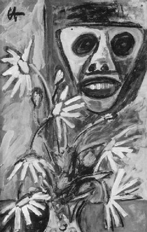 blumenstrauß vor einer maske by richard herber