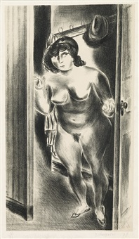 nude at door by yasuo kuniyoshi