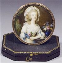 la reine marie-antoinette accoudéewc près d'un bouquet, une rose à la main by francois campana